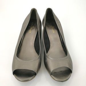 Cole Haan Wedge Heels 10.5B Pewter Metallic